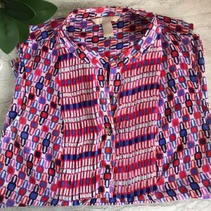 BANANA REPUBLIC Geo Print Sleeveless Blouse